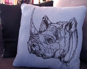 Blue Denim Rhino throw pillow