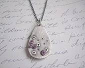 Brida Necklace:  Oxidized Sterling Silver Teardrop and Purple Eggplant French Knots