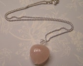 Fabulous Rose Quartz Heart and Silver Ball Necklace - Genuine Rose Quartz Gemstone Necklace - Simple Every Day Jewelry