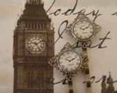 Steampunk - TIC TOCK - Vintage brass Diamond Filigree Bobbie with Paris Watch Face