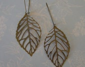 Antique Brass Leaf Earrings - FALLING LEAVES - with Awsome Detail Filigree Cut on Long and Sexy Vintage Finished Kidney Earwires