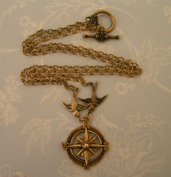 Sparrow Birds Carrying Compass Rose - SOMEONE To GUIDE ME - Antique Gold Birds Beautifully Detailed Rose Compass on Etched Chain