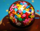 Sweet Chocolatey Yum- Sprinkles Dome Resin Ring