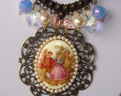 Victorian Love- Vintage inspired Crystal Cameo Beaded Necklace