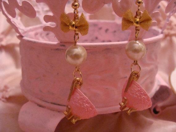 Darling Whimsical Pink TeaCup Dangle Earrings
