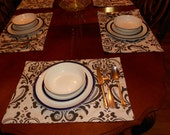 Set of fabric placemats or dinner napkins, damask pattern, choose your own color.