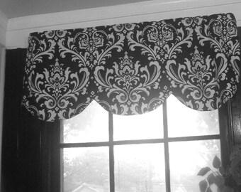 Scallop window valance,  black white Ozbourne damask, shaped valance RTS