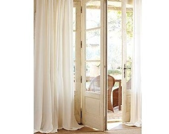 Off white, ivory, linen drapes, linen curtain panels, flat panels, rod pocket linen panels