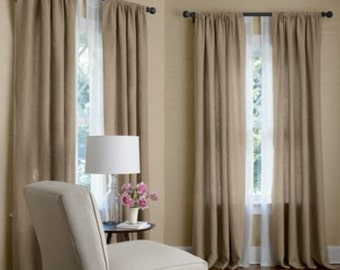 Pair (two 50W panels) curtains drapes,  100% linen, oatmeal, flax, wheat, or choose your own color