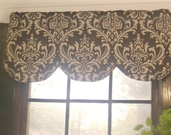 """RTS Lined scallop valance, village brown natural, damask, 45"""" X 16"""""""