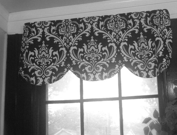 Reserved, Scallop window curtain valance lined, black white damask 64 x 16 inches