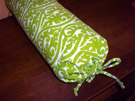 Long bed pillow neck roll pillow lime green and white