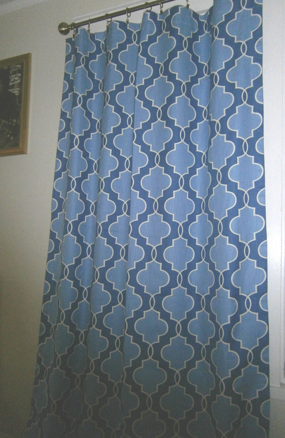 Pair of curtains, drapery panels, lined with poly cotton, P Kaufman, Luca, Sapphire, blue, 50 X 96 inches