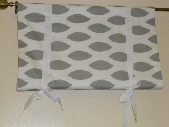 Reserved, 3 Rod pocket, tie up window shades, roll up shade, blackout lined,  grey and white chipper ikat