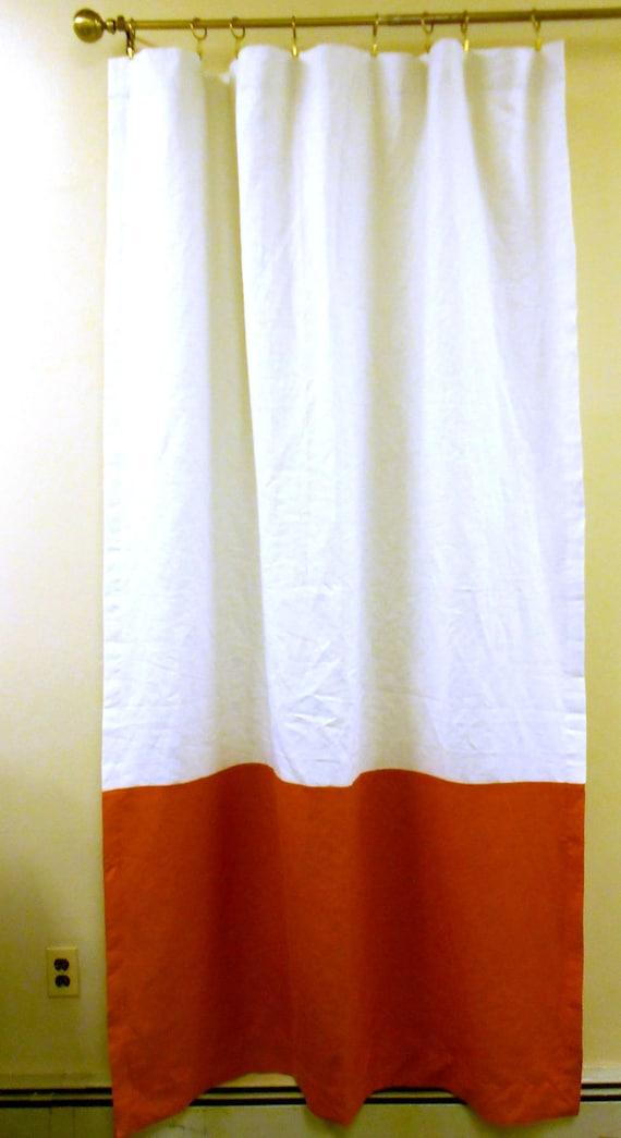 Pair Of Color Block Linen Curtain Panels Medium Weight
