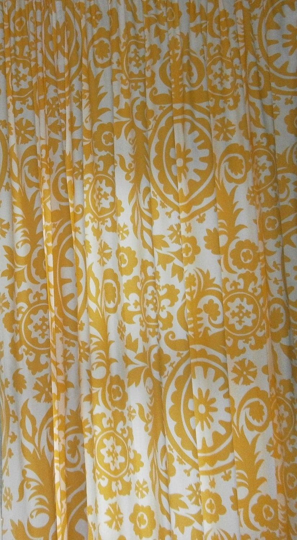 Custom Made Fabric Shower Curtain Suzani Yellow White 72 X