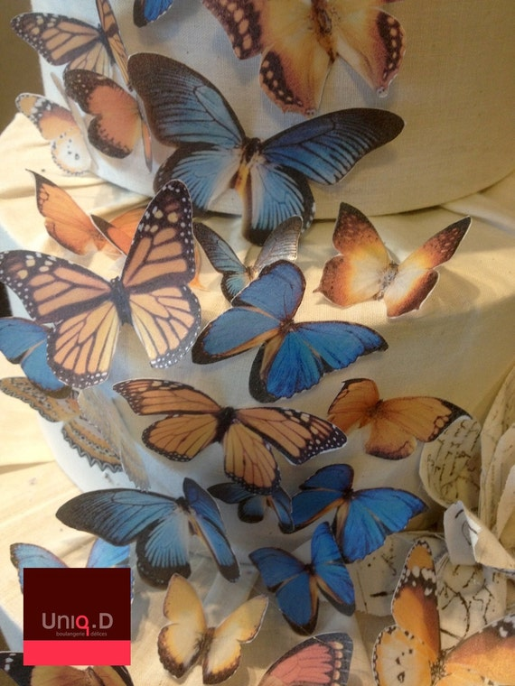 Char-Lee custom order 50 PRECUT monarch butterfly - FREE SHIPPING - autumn butterflies - Assorted 50 butterflies toppers by Uniqdots on Etsy