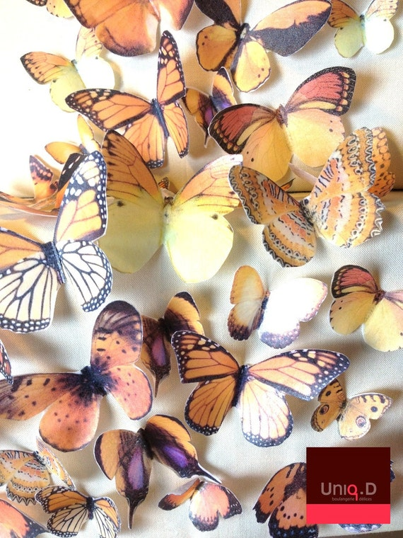 20 precut edible butterflies decoration - FREE SHIPPING - Assorted set 20 wedding cake toppers - Food Accessories by Uniqdots on Etsy