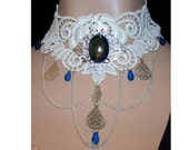 Choker in Cream Oval Teal cab W/ Draping Chain Elegant Intricate Venise Victorian Gothic Necklace Wearable Art Runway