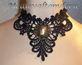 Large Black GOLD Cab Soft Venise Victorian Style Gothic Choker