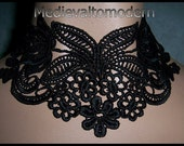 Choker in Black Lace Delicate Neckwear Vintage inspired Venise Victorian Necklace Gothic Evening Wearable Art Costume Cosplay