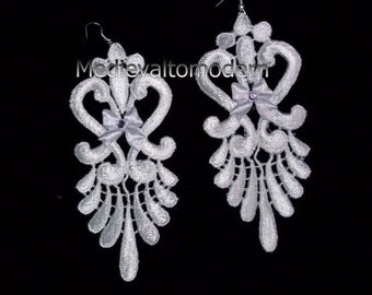 Textile Earrings inLONG Bright Colors Evening Wedding with Bow Design Venise Lace Victorian Moderns 5""