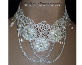 Choker in Cream Victorian Flower Lace Drap Chain Pearl Cab Bead Glass Teardrop Wedding Formal EveningBy Medievaltomodern
