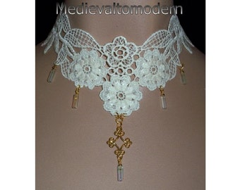 Choker in Cream Wedding Gold Accent Medievaltomodern's Flower Goldtone Chain Collar Necklace Wearable Art Textile Style