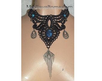 OOAK Large Choker in Blue Black Spade Teardrop Formal Collar Victorian Style Gothic Design Fabric Jewelry Teardrop by Medievaltomodern