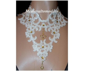 Large Ivory Lace Cameo Victorian Wedding Choker Collar