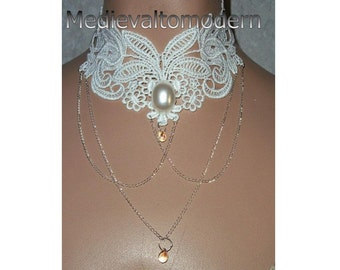 Choker Collar Statement Necklace with Swag Chain Long White Pearl Formal Wedding Venise Lace Style Victoran Century Pearl Cab Glass Bead