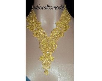 Collar Choker Unique Gold Golden Sparkle Venise Lace Victorian Wedding Elegant, Romantic, Art Jewelry Statement