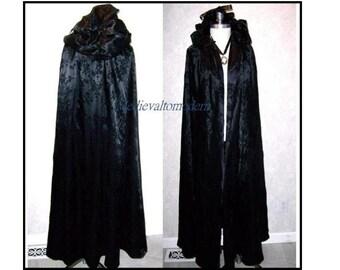 Unique Black Satin Flocked OOAK Flowing  Robbin Hood LONG Hooded Cloak Wedding formal S
