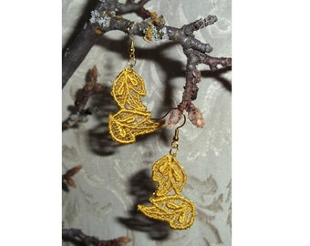 Golden Falling Leif Venise Lace Earrings by Medievaltomodern