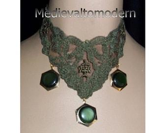 Dark Colar Choker in soft Khaki Green Modern Art Drops Goldtone Accent Everyday Evening Formal Wearable Art Style