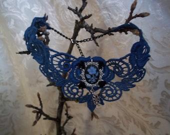 Medievaltomodern's Royal Blue Black Cameo Rose Venise Lace Necklace NEW
