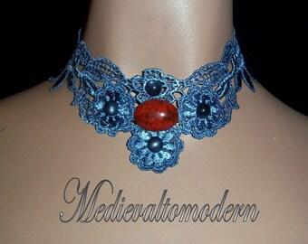 Medievaltomodern's Denim Blue Striking Red Cab Venise Lace Necklace OOAK