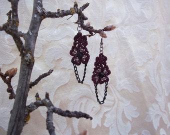 Unique Elegant Wine Venise Chain Earrings by Medievaltomodern