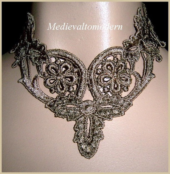 Brassy Brown Soft Victorian Formal Lace Adjusable Collar Choker