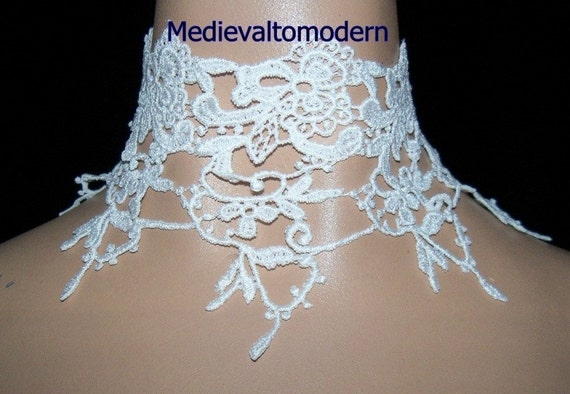 White Delicate Lace Victorian Style Gothic Choker Wide Collar