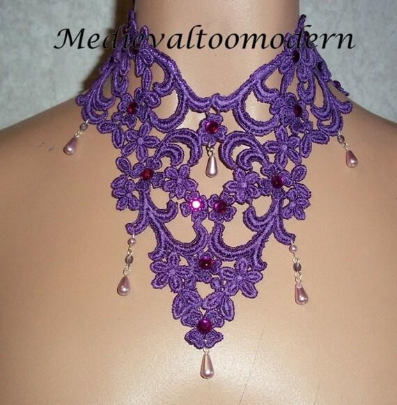 Purple Lavender Medieval Lace Victorian Choker NEW OOAK