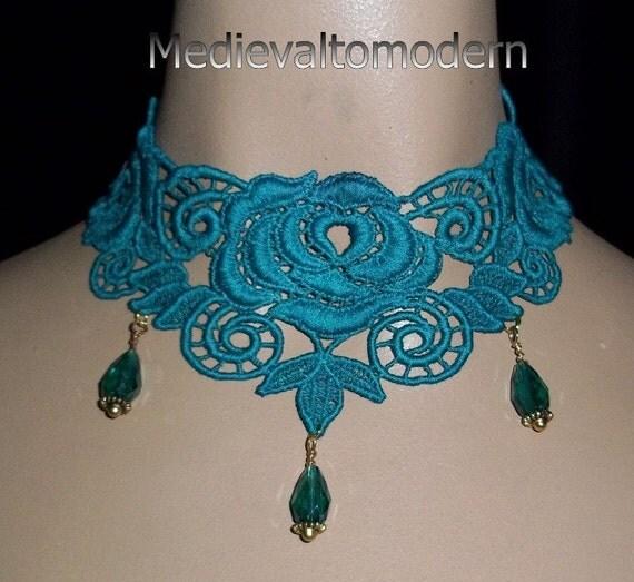 Choker Collar in Unique Teal BLue Cotton Veninse Rose Design Wearable Art Teardrop Beads Elegant, Romantic, Evening Wear By Medievaltomodern