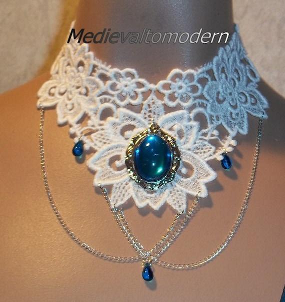 White Bright Teal Blue Cameo Silver Chain Collar Choker