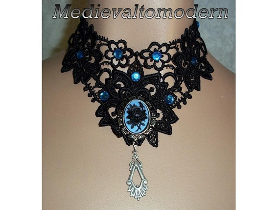 Medievaltomodern's  Black Blue Rose Lace Prom Steampunk Goth Collar Choker