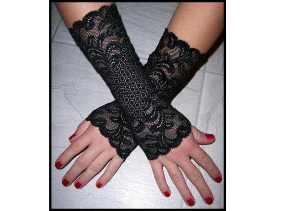 Fingerless Gloves 8 inch Set of 2 Soft Black Scroll Pattern Cuffs Bracelets Elegant, Romantic, Dark Jewelry for Woman