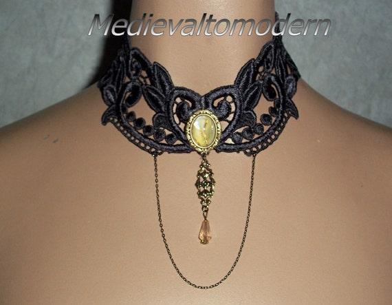 Choker in Deep Smoke Elegant Venise Victorian Necklace Neck Wear by Medievaltomodern Wearable Art Evning Romance