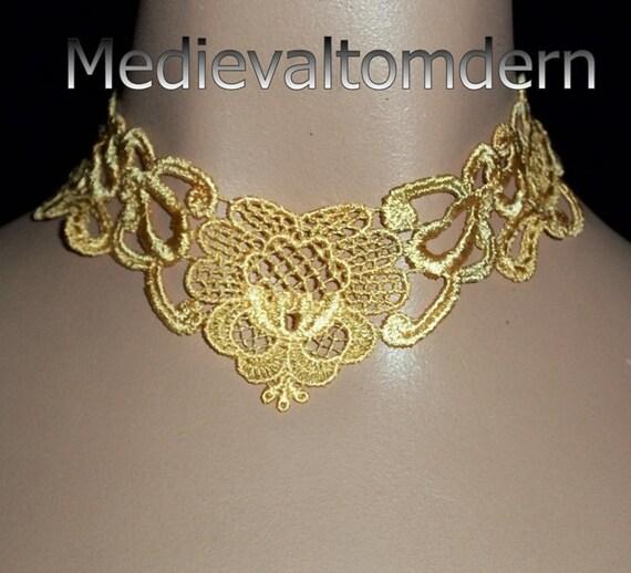 Golden Delicate Rose Victorian Collar Choker  by Medievaltomodern