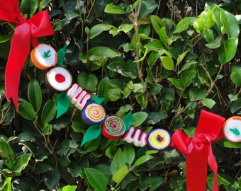 Christmas Candy Garland Handmade of Eco Friendly Felt 6' Long