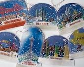 Retro Snow Dome Garland - photorealistic reproductions on felt