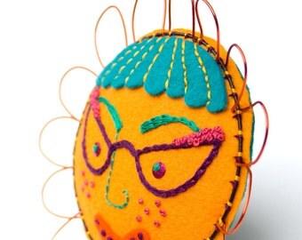 Folk Art Embroidered Felt Wall Flower, Marigold